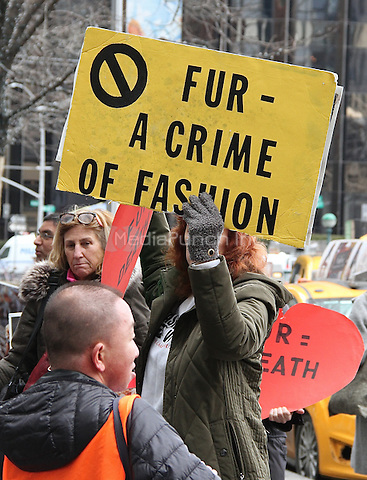 NEW YORK, NY - FEBRUARY 11: Anti-fur protest headed to Bergdorf Goodman during New York Fashion Week (NYFW)   in New York, New York on February 11, 2017.  Photo Credit: Rainmaker Photo/MediaPunch