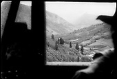 View from Goose window, likely from the Ophir High Line, looking towards Ames.<br /> RGS  Ophir Loop, CO  ca. 1950