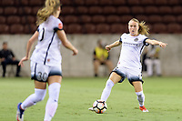 Houston, TX - Saturday July 08, 2017: Emily Sonnett looks to pass the ball during a regular season National Women's Soccer League (NWSL) match between the Houston Dash and the Portland Thorns FC at BBVA Compass Stadium.