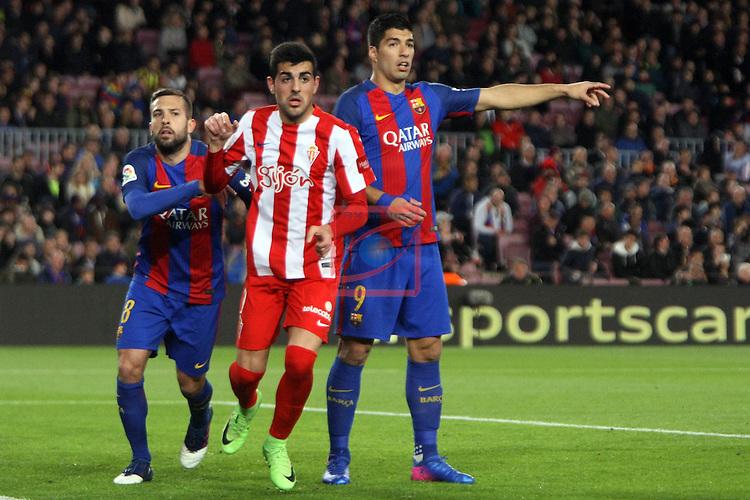 League Santander 2016/2017. Game: 25.<br /> FC Barcelona vs Real Sporting SAD: 6-1.<br /> Jordi Alba, Castro &amp; Luis Suarez.