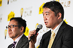 Hideo Sanada, a division head of business strategy at Tepco Customer Service Corp. speaks during a press conference to announce the new SoftBank Electricity service plan at the company's headquarters on January 12, 2016, Tokyo, Japan. In partnership with Tokyo Electric Power Company (TEPCO), Japan's third largest internet and telecommunications corporation will join the electricity retail market offering discounted rates from April 1st. <br /> <br /> Pictured from L to R: SoftBank Mobile Corp. president Ken Miyauchi and Hideo Sanada, a division head of business strategy at Tepco Customer Service Corp. (Photo by Rodrigo Reyes Marin/AFLO)