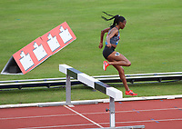 Beatrice Chepkoech (Kenya) on her way to winning the women's 3000m steeplechase during the IAAF Diamond League Athletics Müller Grand Prix Birmingham at Alexander Stadium, Walsall Road, Birmingham on 18 August 2019. Photo by Alan  Stanford.