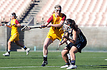 Los Angeles, CA 02/09/13 - Kaitlyn Couture (USC #18) and Amanda Macaluso  (Northwestern #17) in action during the Northwestern vs USC NCAA Women Lacrosse game at the Los Angeles Colliseum.