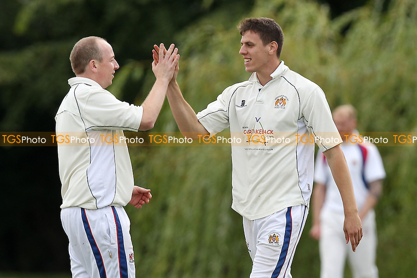 Hornchurch Athletic claim the 9th Brookweald wicket - Hornchurch Athletic CC vs Brookweald CC - Mid-Essex Cricket League at Hylands Park - 30/08/14 - MANDATORY CREDIT: Gavin Ellis/TGSPHOTO - Self billing applies where appropriate - contact@tgsphoto.co.uk - NO UNPAID USE