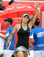 BOGOTA -COLOMBIA. 12-04-2014. Caroline Garcia  de Francia vencio a  Vania King   de USA durante la Copa Claro Colsanitas que se disptuta en el Club El Rancho de Bogot‡. / Caroline Garcia  of France  won a Vania King of USA  in the Copa Claro Colsanitas that disptuta at Club El Rancho de Bogot‡. Photo: VizzorImage/ Luis Emiro Mejia / Open Claro Colsanitas