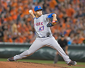 New York Mets relief pitcher Hansel Robles (47) works in the seventh inning against the Baltimore Orioles at Oriole Park at Camden Yards in Baltimore, Maryland on Wednesday, August 19, 2015.  The Orioles won the game 5 - 4.<br /> Credit: Ron Sachs / CNP<br /> (RESTRICTION: NO New York or New Jersey Newspapers or newspapers within a 75 mile radius of New York City)