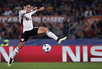 Calcio, Champions League, Gruppo E: Roma vs Bayer Leverkusen. Roma, stadio Olimpico, 4 novembre 2015.<br /> Bayer Leverkusen's Javier Hernandez in action during a Champions League, Group E football match between Roma and Bayer Leverkusen, at Rome's Olympic stadium, 4 November 2015.<br /> UPDATE IMAGES PRESS/Isabella Bonotto