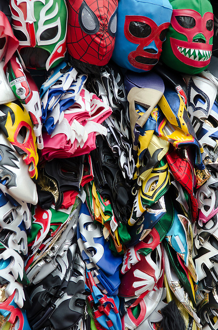 Los Angeles, CA. Lucha Libra Mexican wrestling masks being sold at the mexican market on Olvera Street in the historic Los Angeles Plaza district.