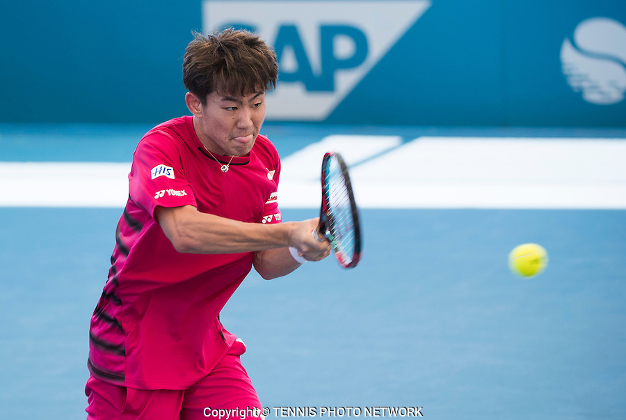 YOSHIHITO NISHIOKA (JPN) IN QUALIFYING ACTION<br /> <br /> BRISBANE INTERNATIONAL, PAT RAFTER ARENA, BRISBANE TENNIS CENTRE, BRISBANE, QUEENSLAND, AUSTRALIA, ATP, WTA, Hard Court, Outside, Men's tennis, Women's tennis, Men's singles, women's singles, men's doubles, women's doubles.<br /> <br /> &copy; TENNIS PHOTO NETWORK