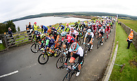 Picture by Simon Wilkinson/SWpix.com 04/09/2017 - Cycling OVO Energy Tour of Britain - Stage 2 Kielder Water and Forest Park to Blyth<br /> Start at Kielder Dam - roll out Caleb Ewan - OVO Energy Green Jersey - peloton