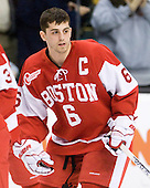 Joe Pereira (BU - 6) - The Boston College Eagles defeated the Boston University Terriers 3-2 (OT) in their Beanpot opener on Monday, February 7, 2011, at TD Garden in Boston, Massachusetts.