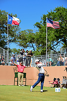 Bud Cauley (USA) watches his tee shot on 17 during round 4 of the Valero Texas Open, AT&amp;T Oaks Course, TPC San Antonio, San Antonio, Texas, USA. 4/23/2017.<br /> Picture: Golffile | Ken Murray<br /> <br /> <br /> All photo usage must carry mandatory copyright credit (&copy; Golffile | Ken Murray)