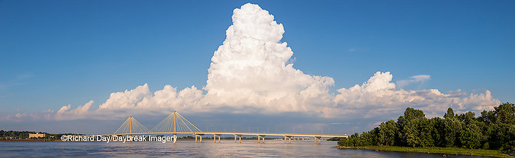 63895-14513 Clark Bridge over Mississippi River and thunderstorm (Cumulonimbus Cloud) Alton, IL