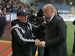 Hug between Tony Pulis manager of West Bromwich Albion and Sean Dyche manager of Burnley - Barclays Premier League - Burnley vs West Bromwich Albion - Turf Moor Stadium  - Burnley - England - 8th February 2015 - Picture Simon Bellis/Sportimage