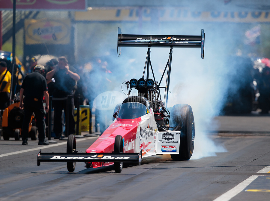 Apr 14, 2019; Baytown, TX, USA; NHRA top fuel driver Clay Millican during the Springnationals at Houston Raceway Park. Mandatory Credit: Mark J. Rebilas-USA TODAY Sports