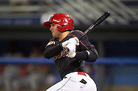Batavia Muckdogs third baseman Alex Fernandez (46) at bat during a game against the Williamsport Crosscutters on August 27, 2015 at Dwyer Stadium in Batavia, New York.  Batavia defeated Williamsport 3-2.  (Mike Janes/Four Seam Images)