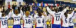 09.01.2020, BLZ Arena, Füssen / Fuessen, GER, IIHF Ice Hockey U18 Women's World Championship DIV I Group A, <br /> Daenemark (DEN) vs Frankreich (FRA), <br /> im Bild die Franzoesinnen verabschieden sich von ihren Fans im Stil der islaendischen Fussballspieler<br /> <br /> Foto © nordphoto / Hafner