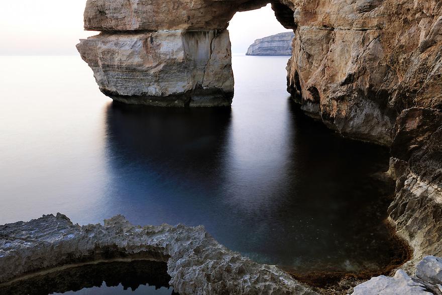 Rock formation (Azur Window) at Blue Hole, Dwejra, Gozo, Maltese Islands