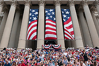 Parade-goers sit at the National Archives for the reading of the Declaration of Independence and the Independence Day Parade along Constitution Avenue in Washington DC on July 4, 2019.<br /> CAP/MPI/CNP<br /> ©CNP/MPI/Capital Pictures