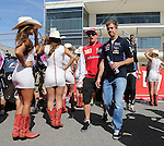 Formula 1 United States Grand Prix 2014, 31.10.-02.11.14<br /> Fahrerparade/Drivers Parade:<br /> Kimi Raikkonen (FIN#7), Scuderia Ferrari, Sebastian Vettel (GER#1), Infiniti Red Bull Racing<br /> Foto &copy; nordphoto /  Bratic