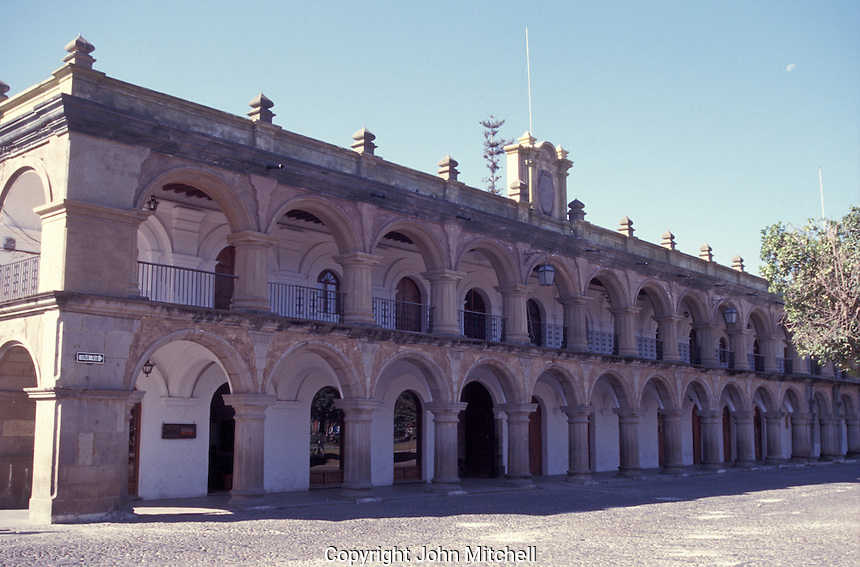 Palace of the Captains General or Palacio de ;os Capitanes Generales facing the main plaza of the Spanish Colonial city of Antigua, Guatemala