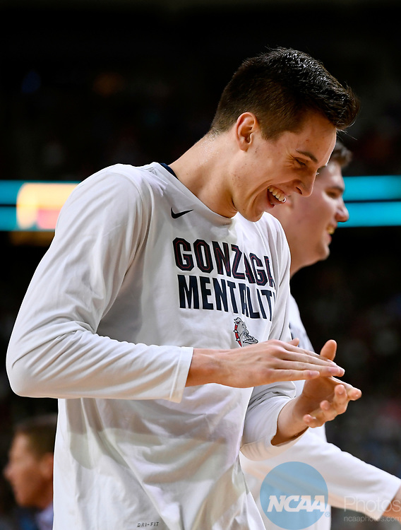 GLENDALE, AZ - APRIL 03: Zach Collins #32 of the Gonzaga Bulldogs reacts to a play from the sidelines against the North Carolina Tar Heels during the 2017 NCAA Men's Final Four National Championship game at University of Phoenix Stadium on April 3, 2017 in Glendale, Arizona.  (Photo by Brett Wilhelm/NCAA Photos via Getty Images)