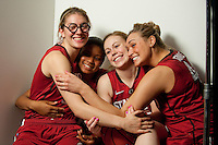 DENVER, CO--Toni Kokenis, Amber Orrange, Lindy LaRocque and Joslyn Tinkle have fun with the cameras during media day at the Pepsi Center for the 2012 NCAA Women's Final Four in Denver, CO.