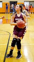 Westside Eagle Observer/RANDY MOLL<br /> Gentry senior Kya DeZurik looks to take a shot under the basket during play against Gravette on Friday.