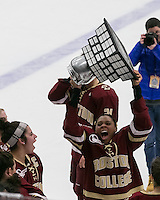 Boston, Massachusetts - February 9, 2016: NCAA Division I, Beanpot Tournament final. Boston College (maroon) defeated Northeastern University (white/black), 7-0, at Walter Brown Arena. Beanpot victory celebration.