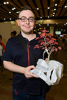 Bonsai fan, Hyper Japan 2014, Earls Court, London, UK, July 25, 2014. Hyper Japan is the UK's largest Japanese culture event. It took place at the Earls Court exhibition space from 25 to 27 July 2014.