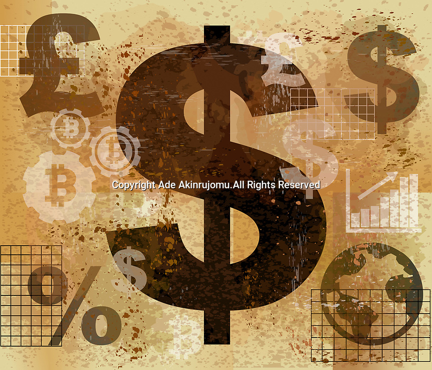 Large dollar sign standing out as global currency