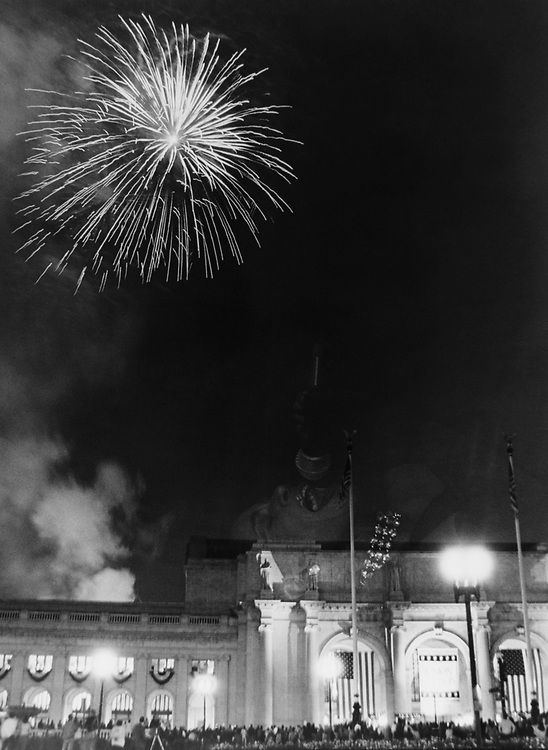 Fireworks outside the Washington Union Station. (Photo by CQ Roll Call via Getty Images)