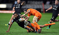 DURBAN, SOUTH AFRICA - JULY 14: Matias Moroni and Juan Manuel Leguizamon of the Jaguares tackling Lukhanyo Am of the Cell C Sharks during the Super Rugby match between Cell C Sharks and Jaguares at Jonsson Kings Park on July 14, 2018 in Durban, South Africa. Photo: Steve Haag / stevehaagsports.com