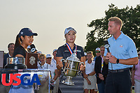 Jeongeun6 Lee (KOR) is interviewed after being presented the trophy for winning the 2019 US Women's Open, Charleston Country Club, Charleston, South Carolina,  USA. 6/2/2019.<br /> Picture: Golffile | Ken Murray<br /> <br /> All photo usage must carry mandatory copyright credit (© Golffile | Ken Murray)