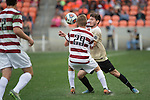 HOUSTON, TX - DECEMBER 11:  Luis Argued (2) of Wake Forest University and Derek Waldeck (29) of Stanford University compete for the ball during the Division I Men's Soccer Championship held at the BBVA Compass Stadium on December 11, 2016 in Houston, Texas.  Stanford defeated Wake Forest 1-0 in a penalty shootout for the national title. (Photo by Justin Tafoya/NCAA Photos via Getty Images)