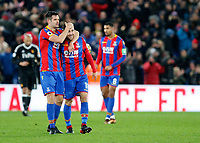 James McArthur of Crystal Palace is hugged by Scott Dann at the final whistle during the EPL - Premier League match between Crystal Palace and Watford at Selhurst Park, London, England on 12 December 2017. Photo by Carlton Myrie / PRiME Media Images.