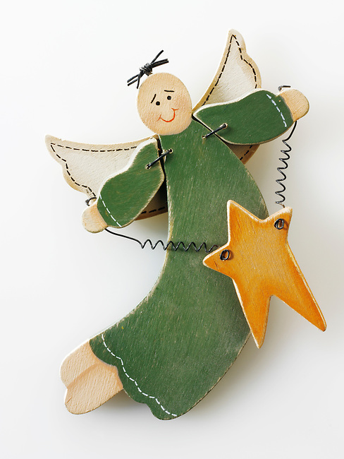 Wooden Christmas angel decorations