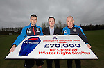 Rangers captain Lee Wallace and Manager Mark Warburton present Graham Steven (the Marketing and Fundraising Director of Glasgow City Mission) £70,000 on behalf of the Rangers Charity Foundation for Glasgow City Mission's Glasgow Winter Night Shelter appeal.