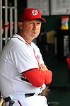 8 September 2011: Washington Nationals AAA Manager of the Syracuse Chiefs, Randy Knorr stands in the dugout during a game against the Los Angeles Dodgers at Nationals Park in Washington, DC. The Dodgers defeated the Nationals 7-4 to take the third game of their 4-game series. Mandatory Credit: Ed Wolfstein Photo