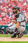 3 April 2017: Miami Marlins catcher J.T. Realmuto glances back to the dugout during play against the Washington Nationals on Opening Day at Nationals Park in Washington, DC. The Nationals defeated the Marlins 4-2 to open the 2017 MLB Season. Mandatory Credit: Ed Wolfstein Photo *** RAW (NEF) Image File Available ***