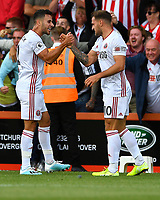 Billy Sharp of Sheffield United right celebrates hs goal with George Baldock of Sheffield United during AFC Bournemouth vs Sheffield United, Premier League Football at the Vitality Stadium on 10th August 2019