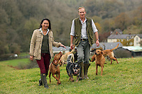 FAO JANET TOMLINSON, DAILY MAIL PICTURE DESK<br />Pictured: Owners Gillian and Mark Thompson walking some of the dogs they accommodate Monday 14 November 2016<br />Re: The Dog House in the village of Talog, Carmarthenshire, Wales, UK