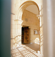 A doorway in the church of San Pedro at Gijon, Asturias, Spain