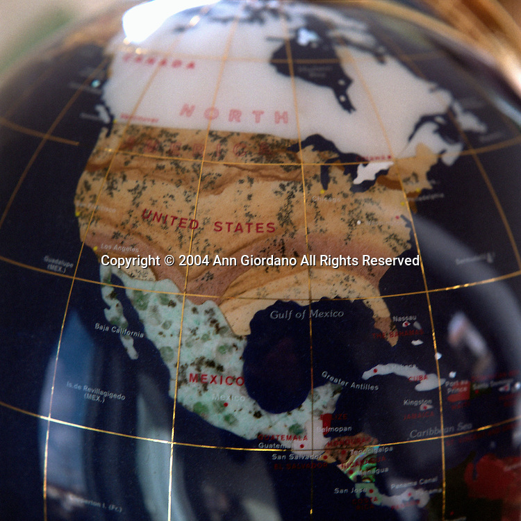World globe showing North America