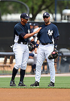 April 3, 2010:  Shortstop Derek Jeter (2) of the New York Yankees jokes with Alex Rodriguez (13) during the annual Futures Game during Spring Training at Legends Field in Tampa, Florida.  Photo By Mike Janes/Four Seam Images
