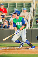 Fred Ford (19) of the Lexington Legends follows through on his swing against the Kannapolis Intimidators at CMC-Northeast Stadium on July 29, 2013 in Kannapolis, North Carolina.  The Intimidators defeated the Legends 10-5.  (Brian Westerholt/Four Seam Images)