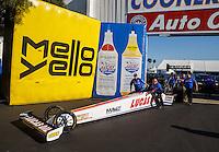 Nov 11, 2016; Pomona, CA, USA; Crew members with NHRA top fuel driver Richie Crampton during qualifying for the Auto Club Finals at Auto Club Raceway at Pomona. Mandatory Credit: Mark J. Rebilas-USA TODAY Sports