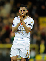 Neil Taylor of Swansea City applauds the fans during the Barclays Premier League match between Norwich City and Swansea City played at Carrow Road, Norwich on November 7th 2015