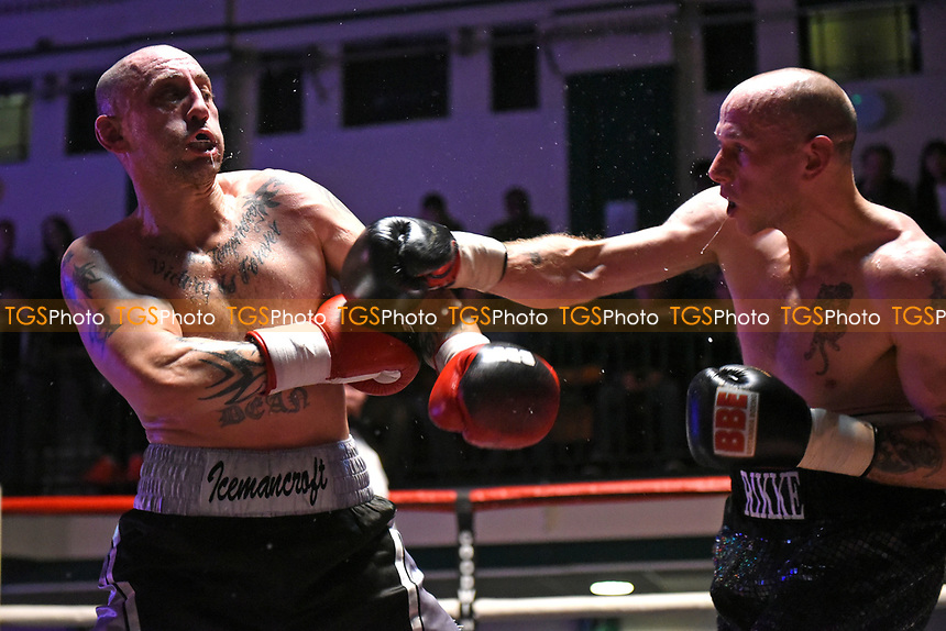 Rikke Askew defeats Dean Croft during a Boxing Show at York Hall on 11th March 2017