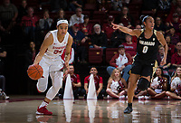 Stanford, CA - January 24, 2020: Jenna Brown at Maples Pavilion. The Stanford Cardinal defeated the Colorado Buffaloes in overtime, 76-68.